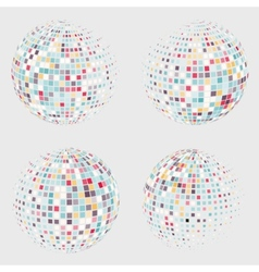 Collection of halftone sphere logo template vector