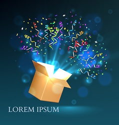 Open box with fireworks from confetti vector