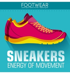Flat sport sneakers background concept desi vector