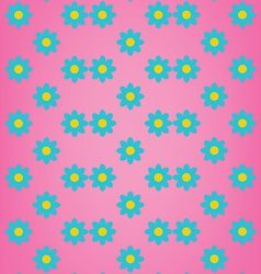 Cute blue flower on pink background pattern vector
