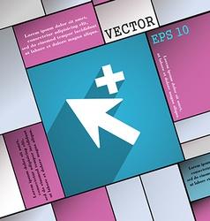 Cursor arrow plus add icon symbol flat modern web vector