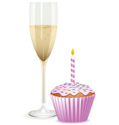 Champagne filled flute and a pink birthday cupcake vector