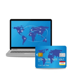 Credit card and computer vector