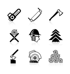 Woodworking icon set vector