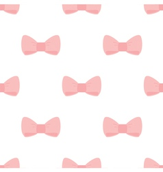 Seamless pastel pink bows on white background vector