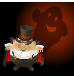Cute halloween count dracula with ghost vector