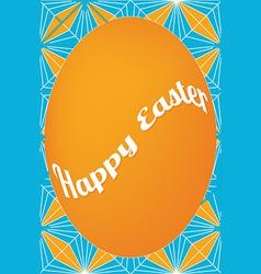 Orange egg easter card on dagger pattern vector