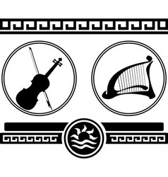 Silhouettes of violin and ancient harp vector