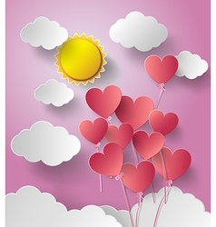 Sun shine with balloon heart vector