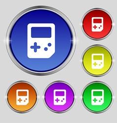 Tetris icon sign round symbol on bright colourful vector