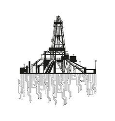 Oil rig silhouettes on white background vector