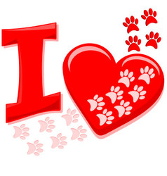 I heart paws vector