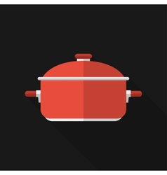 Flat saucepan with long shadow icon vector