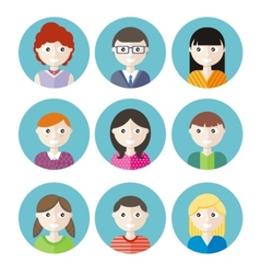Color avatars teenagers vector