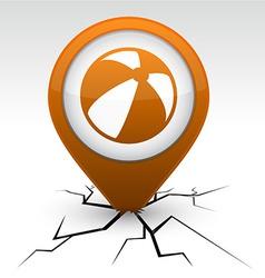 Summer balloon orange icon in crack vector