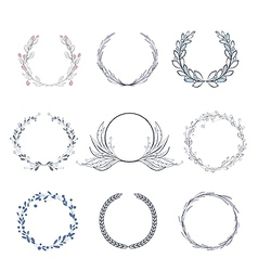 Floral wreath collection vector