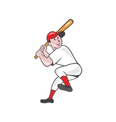 Baseball player batting leg up cartoon vector