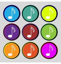 Music note sign icon musical symbol set colourful vector