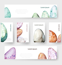 Watercolor easter holiday cards tags banners set vector