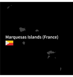 Detailed map of marquesas islands with flag on vector