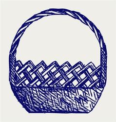 Empty wicker basket vector