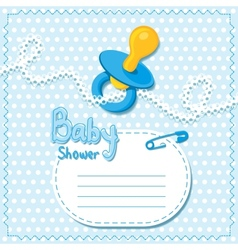 Baby shower blue card template vector