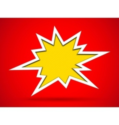 Cut out hole bang sign on red background vector