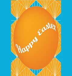 Orange easter egg card on fan pattern vector