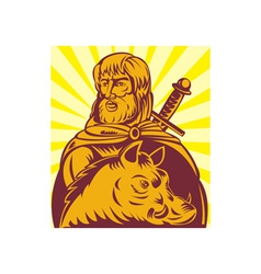 Frey norse god of agriculture with sword and boar vector