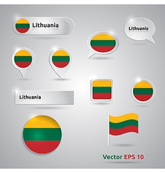 Lithuania icon set of flags vector