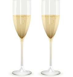 Two champagne glasses filled with champagne on a w vector