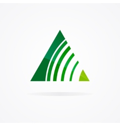 Logo with a combination of triangle and signal vector