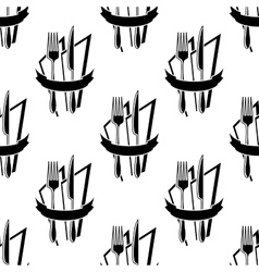 Seamless pattern of forks and knives vector