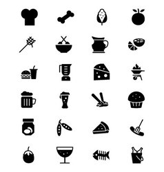 Food solid icons 5 vector