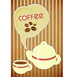 Coffee cup and coffee pot vector