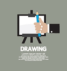 Drawing on easel with pencil vector