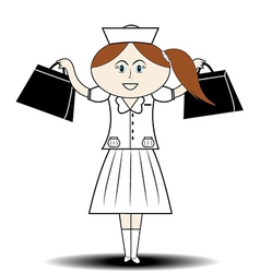 First aid nurse handbag vector