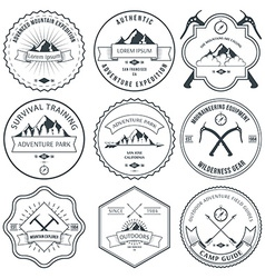 Camping mountain adventure hiking explorer vector