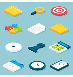Flat isometric business objects set vector