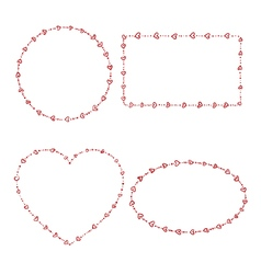 4 heart beads frames vector