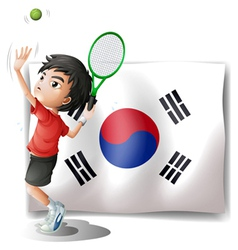 A tennis player in front of the south korean flag vector