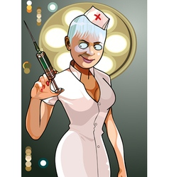 Cartoon medical anesthesiologist with syringe vector