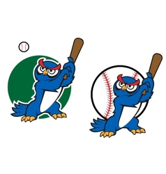 Cartoon wise old owl playing baseball vector