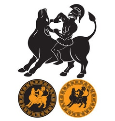 Hercules and bull vector