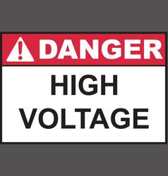 Danger high voltage sign vector