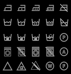Laundry line icons on black background vector