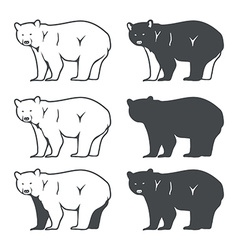 Set of six bear silhouette vector