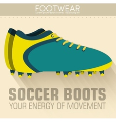 Flat sport soccer boots icon background concept vector