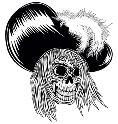 Skull in hat with feathers vector