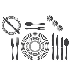 Etiquette proper table setting vector
